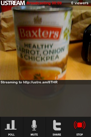Screengrab of my lunch being streamed live on Ustream via iPhone