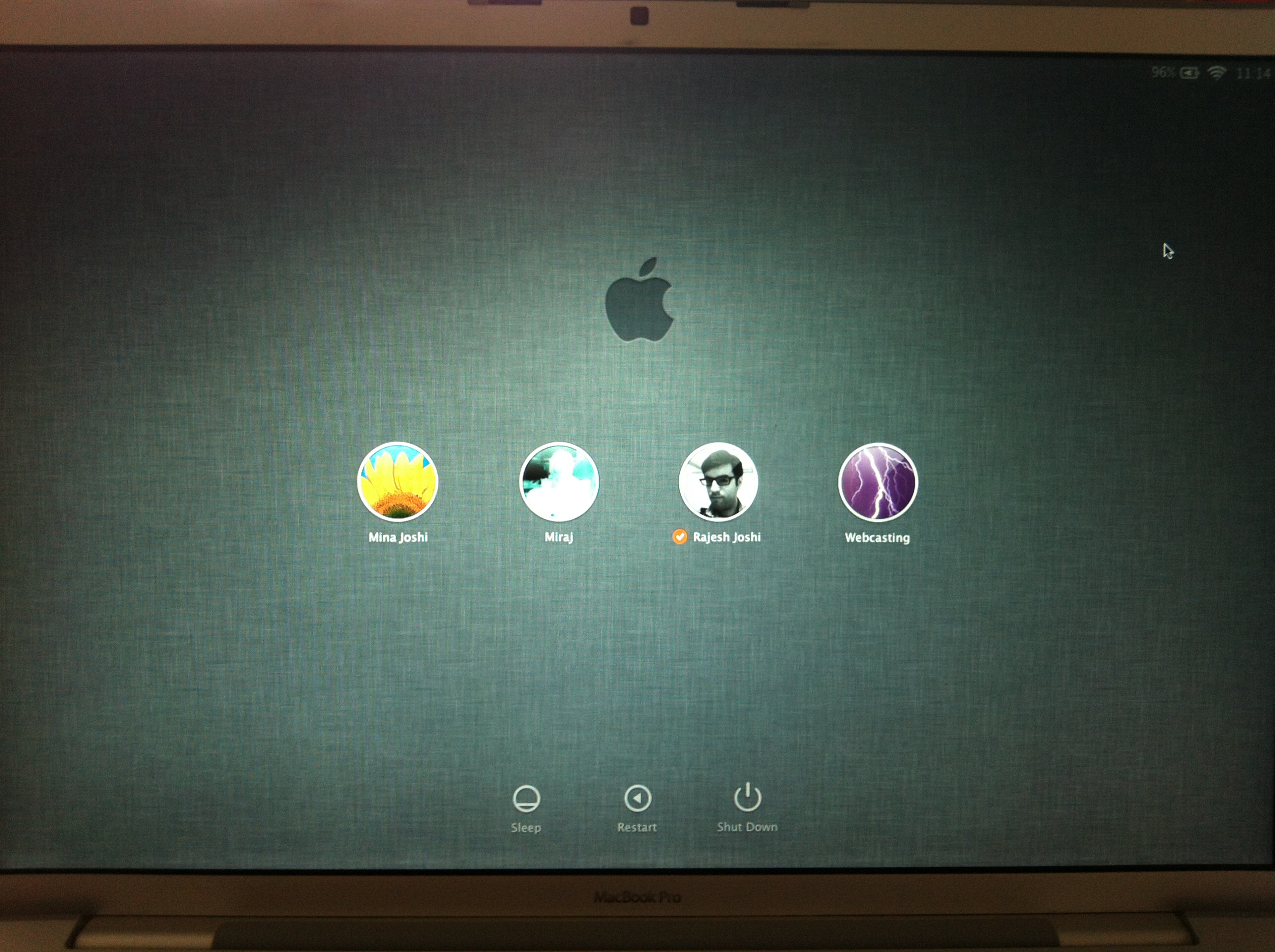 Mac OS X Lion login screen
